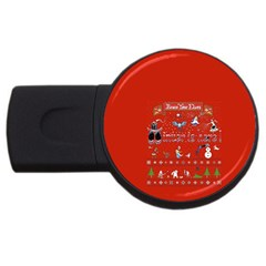 Winter Is Here Ugly Holiday Christmas Red Background Usb Flash Drive Round (4 Gb)