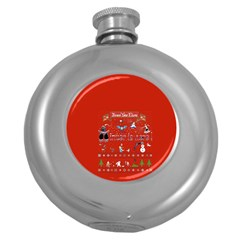 Winter Is Here Ugly Holiday Christmas Red Background Round Hip Flask (5 Oz)