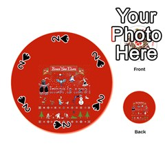 Winter Is Here Ugly Holiday Christmas Red Background Playing Cards 54 (round)