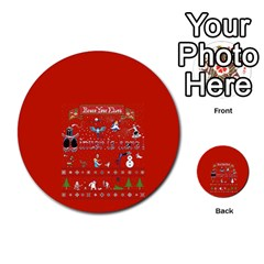 Winter Is Here Ugly Holiday Christmas Red Background Multi Purpose Cards (round)