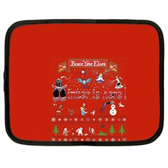 Winter Is Here Ugly Holiday Christmas Red Background Netbook Case (large)
