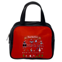 Winter Is Here Ugly Holiday Christmas Red Background Classic Handbags (one Side)