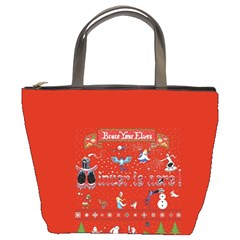 Winter Is Here Ugly Holiday Christmas Red Background Bucket Bags