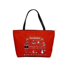 Winter Is Here Ugly Holiday Christmas Red Background Shoulder Handbags