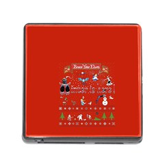 Winter Is Here Ugly Holiday Christmas Red Background Memory Card Reader (square)