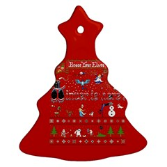 Winter Is Here Ugly Holiday Christmas Red Background Christmas Tree Ornament (2 Sides)