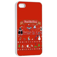 Winter Is Here Ugly Holiday Christmas Red Background Apple Iphone 4/4s Seamless Case (white)