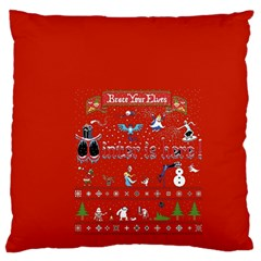Winter Is Here Ugly Holiday Christmas Red Background Large Cushion Case (two Sides)