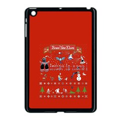 Winter Is Here Ugly Holiday Christmas Red Background Apple Ipad Mini Case (black)
