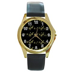 Yellow elegant Xmas snowflakes Round Gold Metal Watch