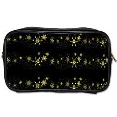 Yellow elegant Xmas snowflakes Toiletries Bags