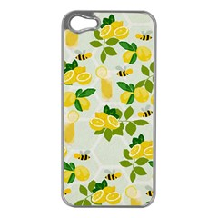 Lemon Print Fruite Juise Fress Drink Apple Iphone 5 Case (silver)