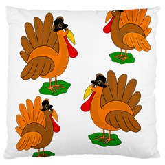 Thanksgiving turkeys Large Cushion Case (One Side)