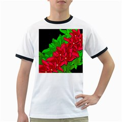 Xmas red flowers Ringer T-Shirts