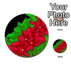 Xmas red flowers Multi-purpose Cards (Round)