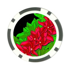 Xmas Red Flowers Poker Chip Card Guards (10 Pack)