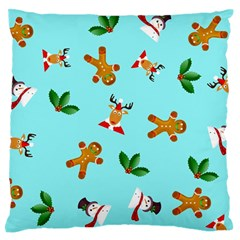Pattern Merry Christmas Gingerbread Reindeer Man Snowman Holly Large Flano Cushion Case (two Sides)