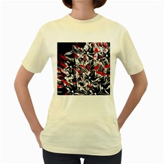 Red abstract flowers Women s Yellow T-Shirt