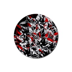 Red abstract flowers Rubber Round Coaster (4 pack)