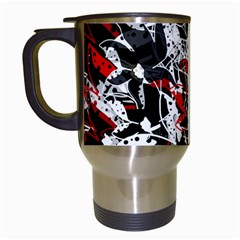 Red abstract flowers Travel Mugs (White)