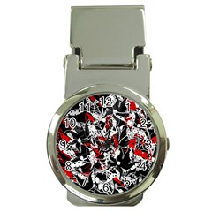 Red abstract flowers Money Clip Watches