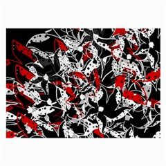 Red abstract flowers Large Glasses Cloth (2-Side)