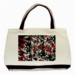 Red abstract flowers Basic Tote Bag (Two Sides)