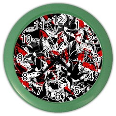 Red abstract flowers Color Wall Clocks