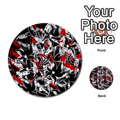 Red abstract flowers Multi-purpose Cards (Round)