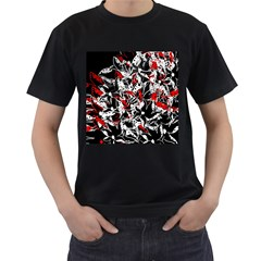 Red abstract flowers Men s T-Shirt (Black)