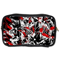 Red abstract flowers Toiletries Bags