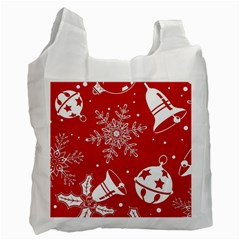 Red Winter Holiday Pattern Red Christmas Recycle Bag (two Side)
