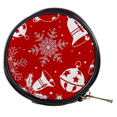 Red Winter Holiday Pattern Red Christmas Mini Makeup Bags