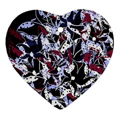 Decorative abstract floral desing Heart Ornament (2 Sides)