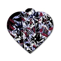 Decorative abstract floral desing Dog Tag Heart (Two Sides)