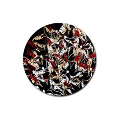 Abstract floral design Rubber Round Coaster (4 pack)