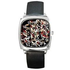 Abstract floral design Square Metal Watch