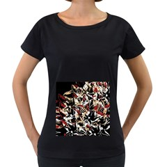 Abstract floral design Women s Loose-Fit T-Shirt (Black)