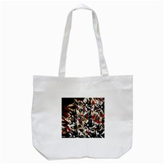 Abstract Floral Design Tote Bag (white)