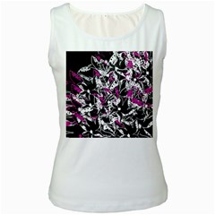 Purple abstract flowers Women s White Tank Top