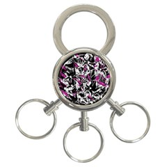 Purple abstract flowers 3-Ring Key Chains