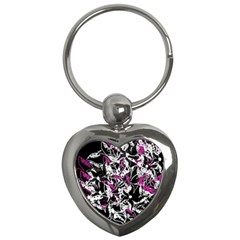 Purple abstract flowers Key Chains (Heart)