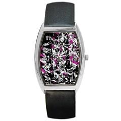 Purple abstract flowers Barrel Style Metal Watch