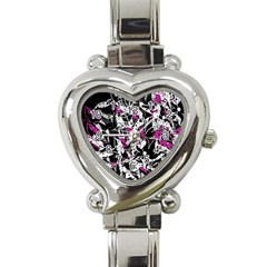 Purple abstract flowers Heart Italian Charm Watch