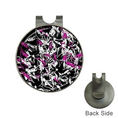 Purple abstract flowers Hat Clips with Golf Markers