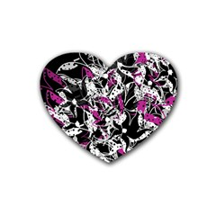 Purple abstract flowers Heart Coaster (4 pack)