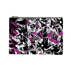 Purple abstract flowers Cosmetic Bag (Large)