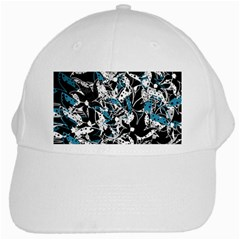 Blue abstract flowers White Cap
