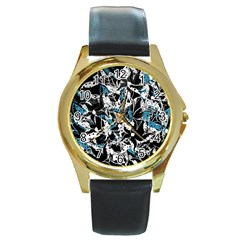 Blue abstract flowers Round Gold Metal Watch