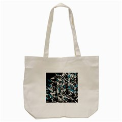 Blue abstract flowers Tote Bag (Cream)